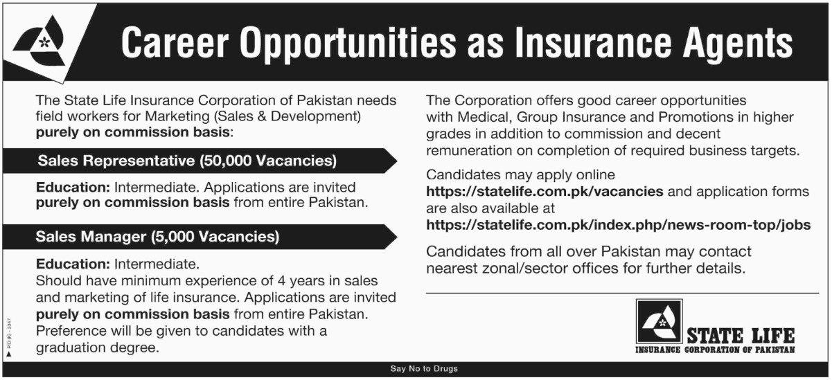 State Life Insurance Corporation of Pakistan Jobs 2019 55000 Vacancies of Insurance Agents