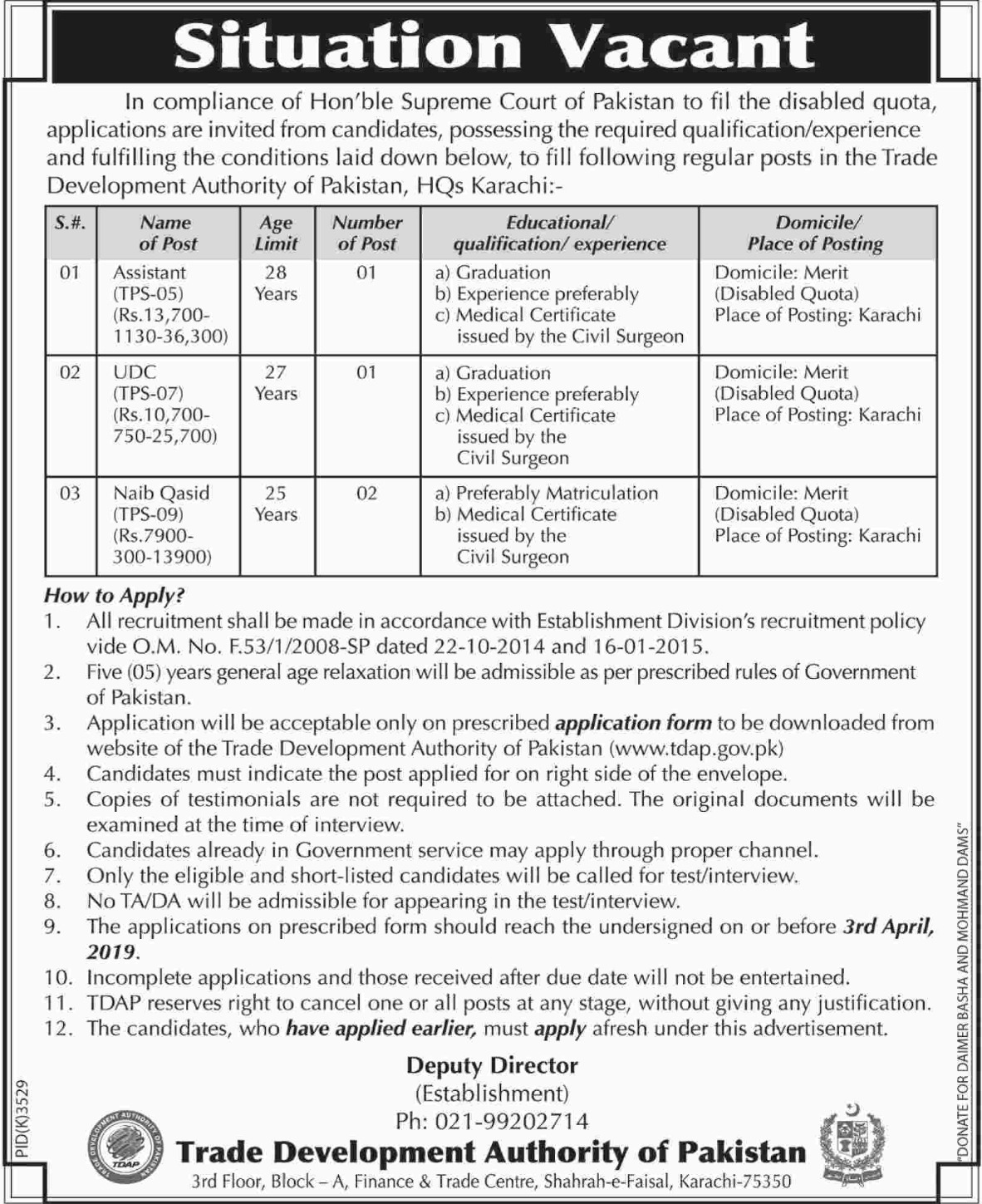 Trade Development Authority of Pakistan TDAP Jobs 2019