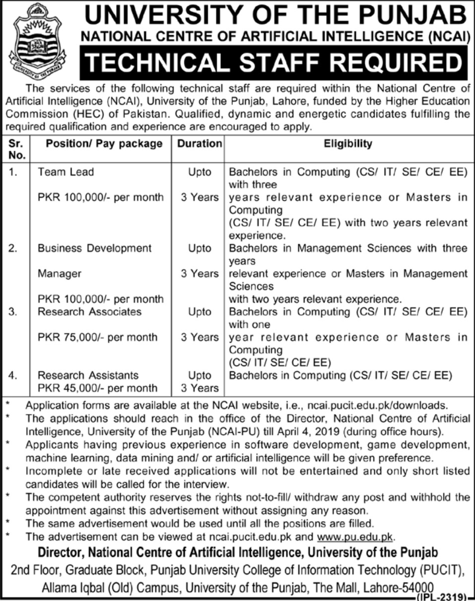 University of Punjab Jobs 2019 PU NCAI Latest