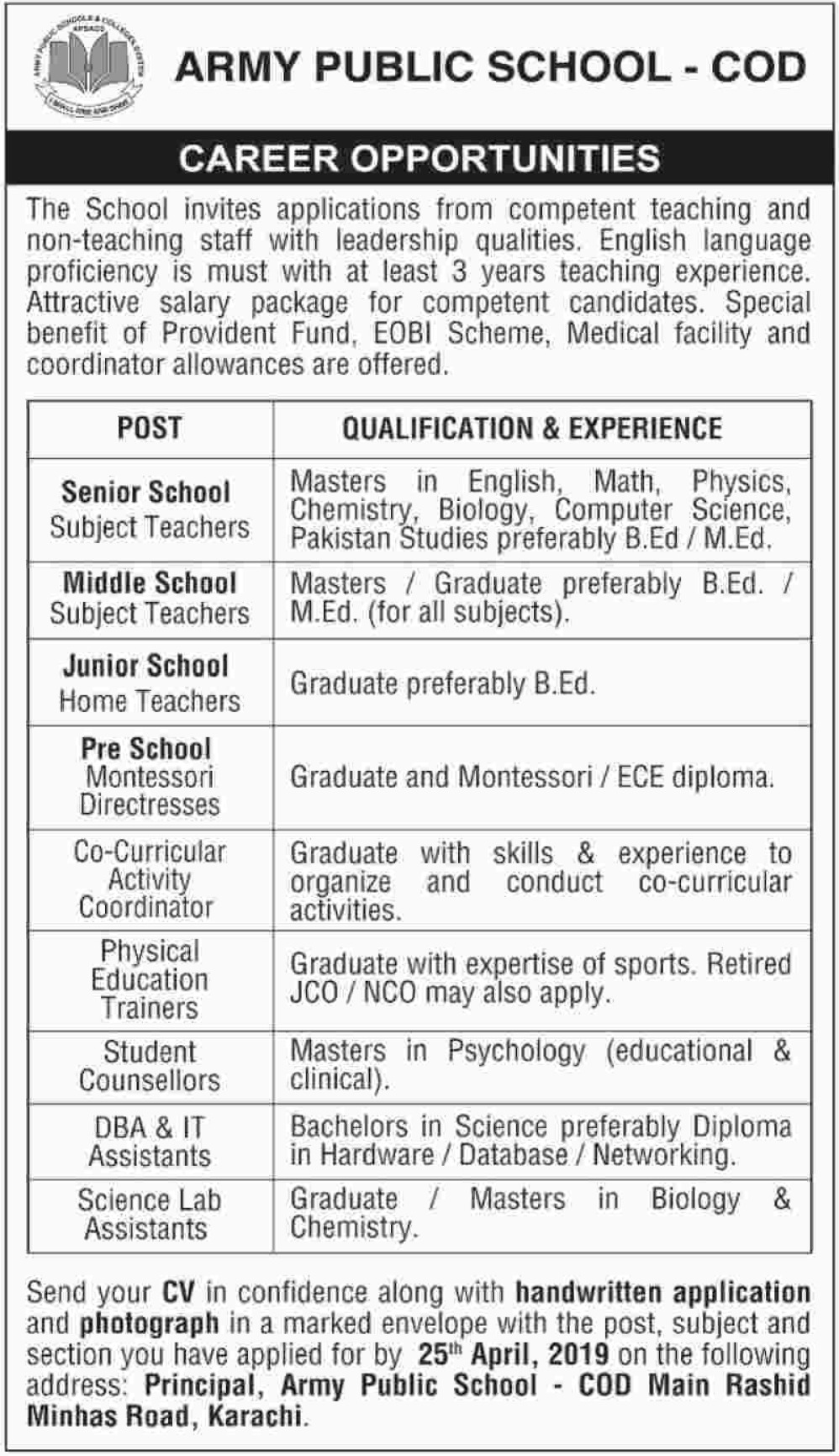 Army Public School COD Karachi Jobs 2019 Latest