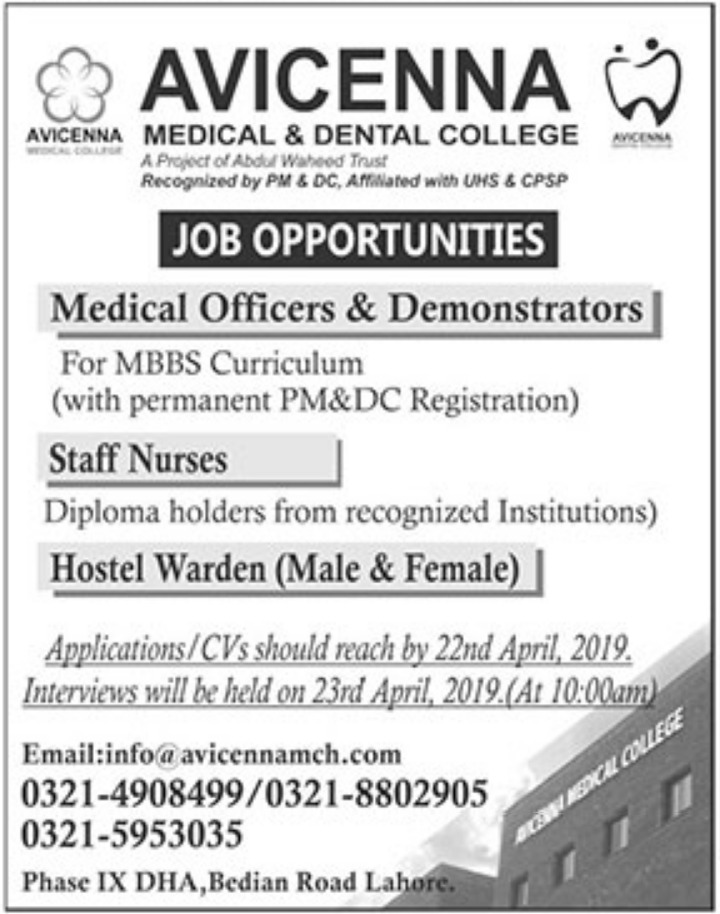 Avicenna Medical & Dental College Jobs 2019 Latest