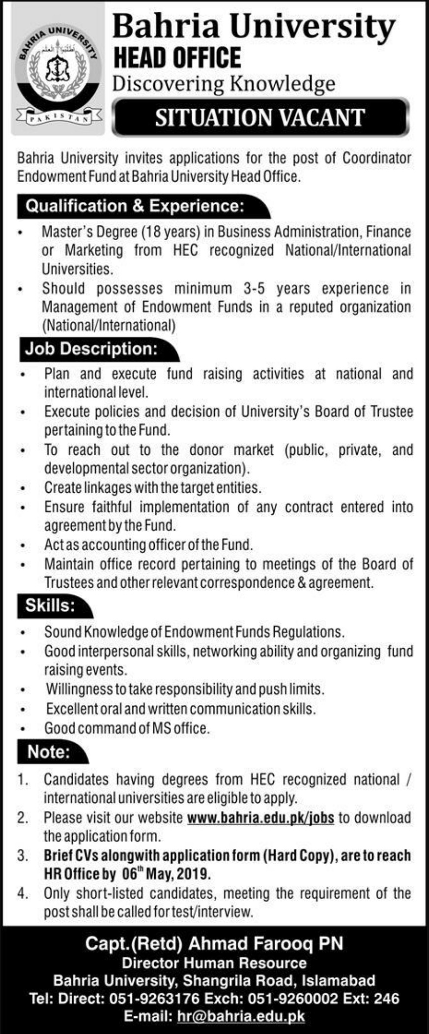 Bahria University Islamabad Jobs 2019 Latest