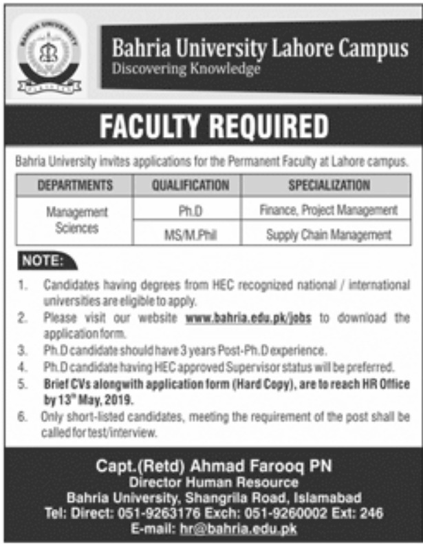 Bahria University Lahore Jobs 2019 Faculty Required