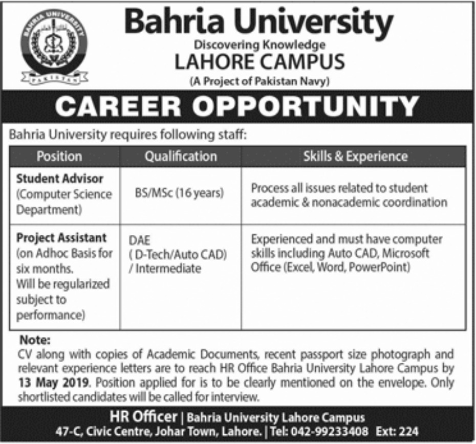 Bahria University Lahore Jobs 2019