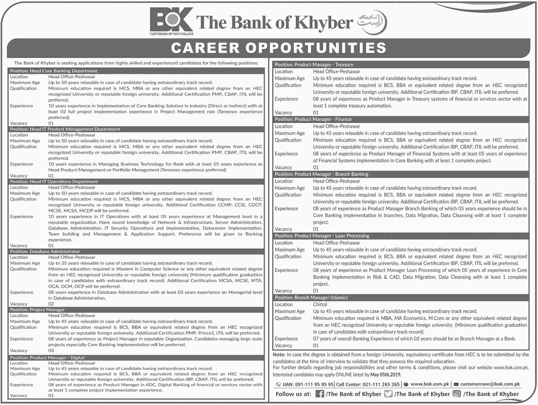 Bank of Khyber Jobs 2019 Apply Online through BOK Website