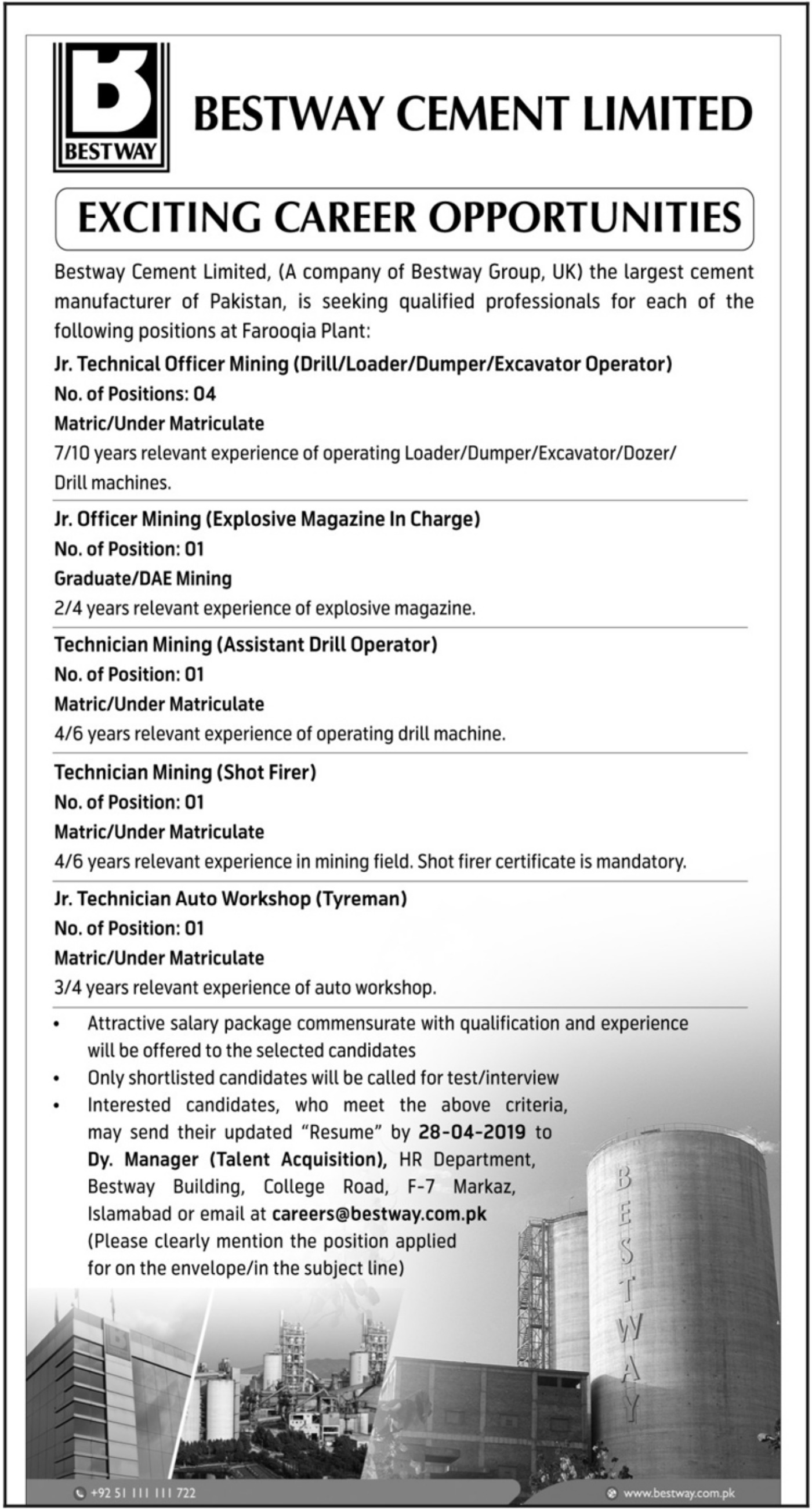 Bestway Cement Limited Jobs 2019 Exciting Career Opportunities