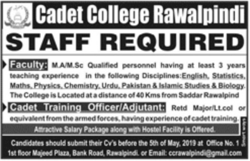 Cadet College Rawalpindi Jobs 2019