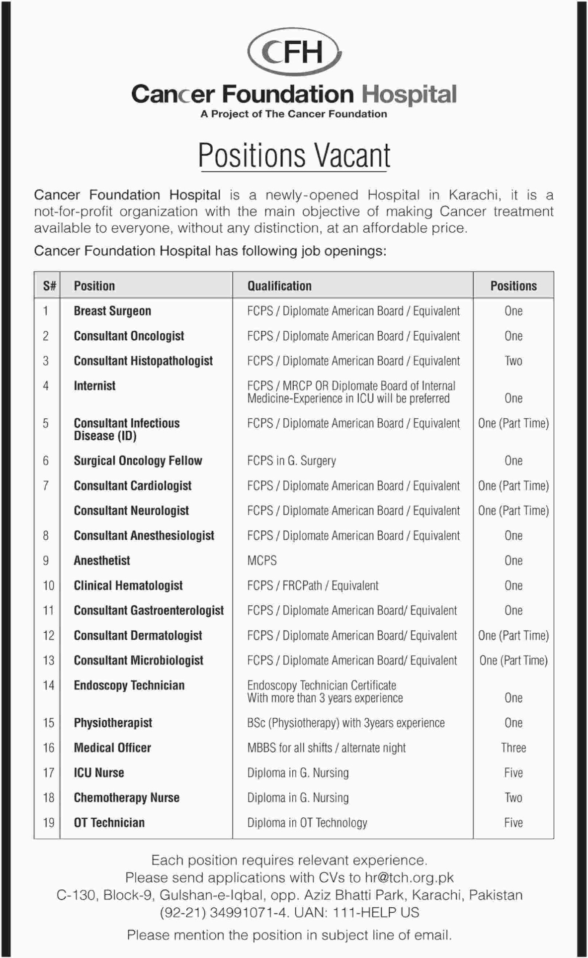 Cancer Foundation Hospital Karachi Jobs 2019 Sindh Latest