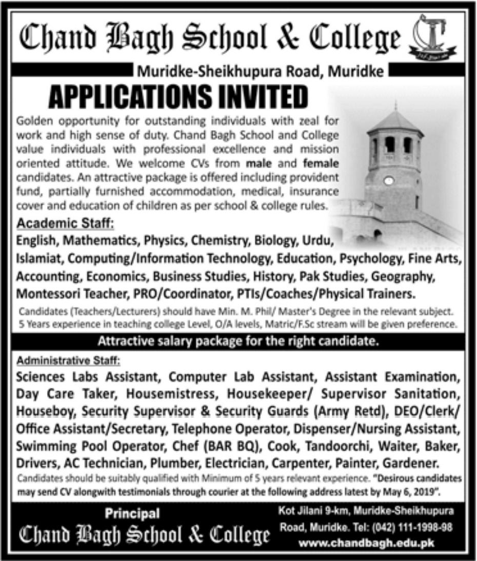 Chand Bagh School & College Muridke Jobs 2019 Latest