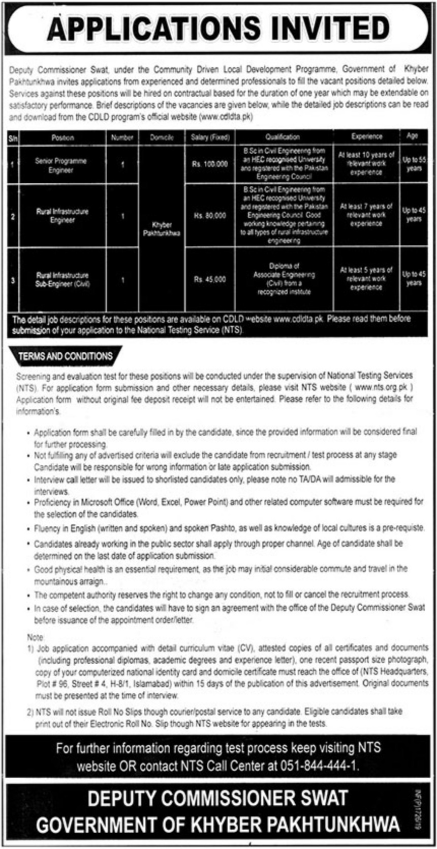 Community Driven Local Development CDLD Programme KPK Jobs 2019 Deputy Commissioner Swat
