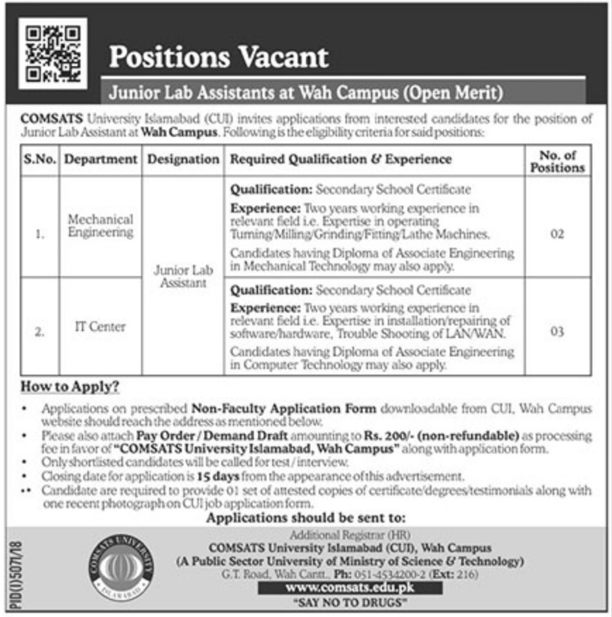 Comsats University Islamabad Jobs 2019 Wah Campus