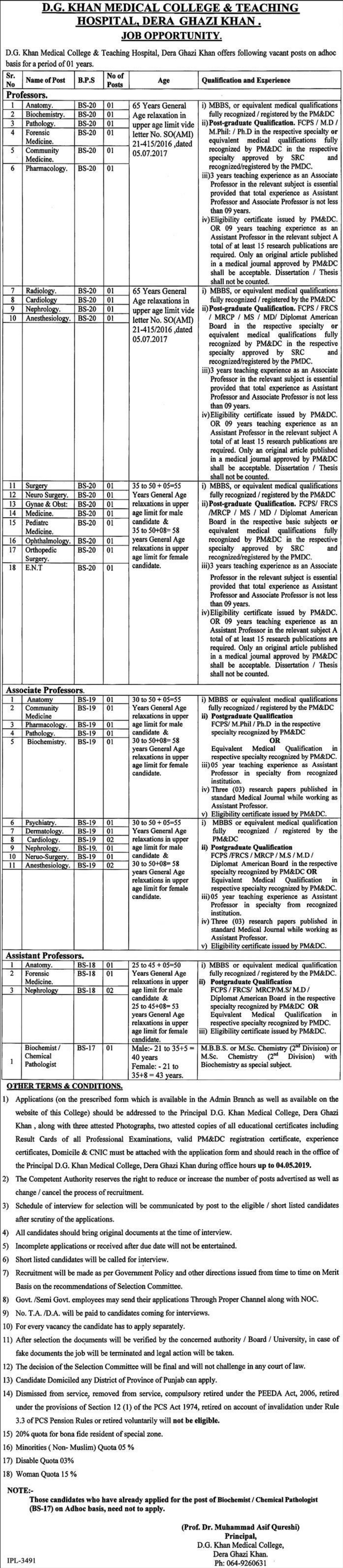 D.G. Khan Medical College & Teaching Hospital Jobs 2019 Dera Ghazi Khan Latest