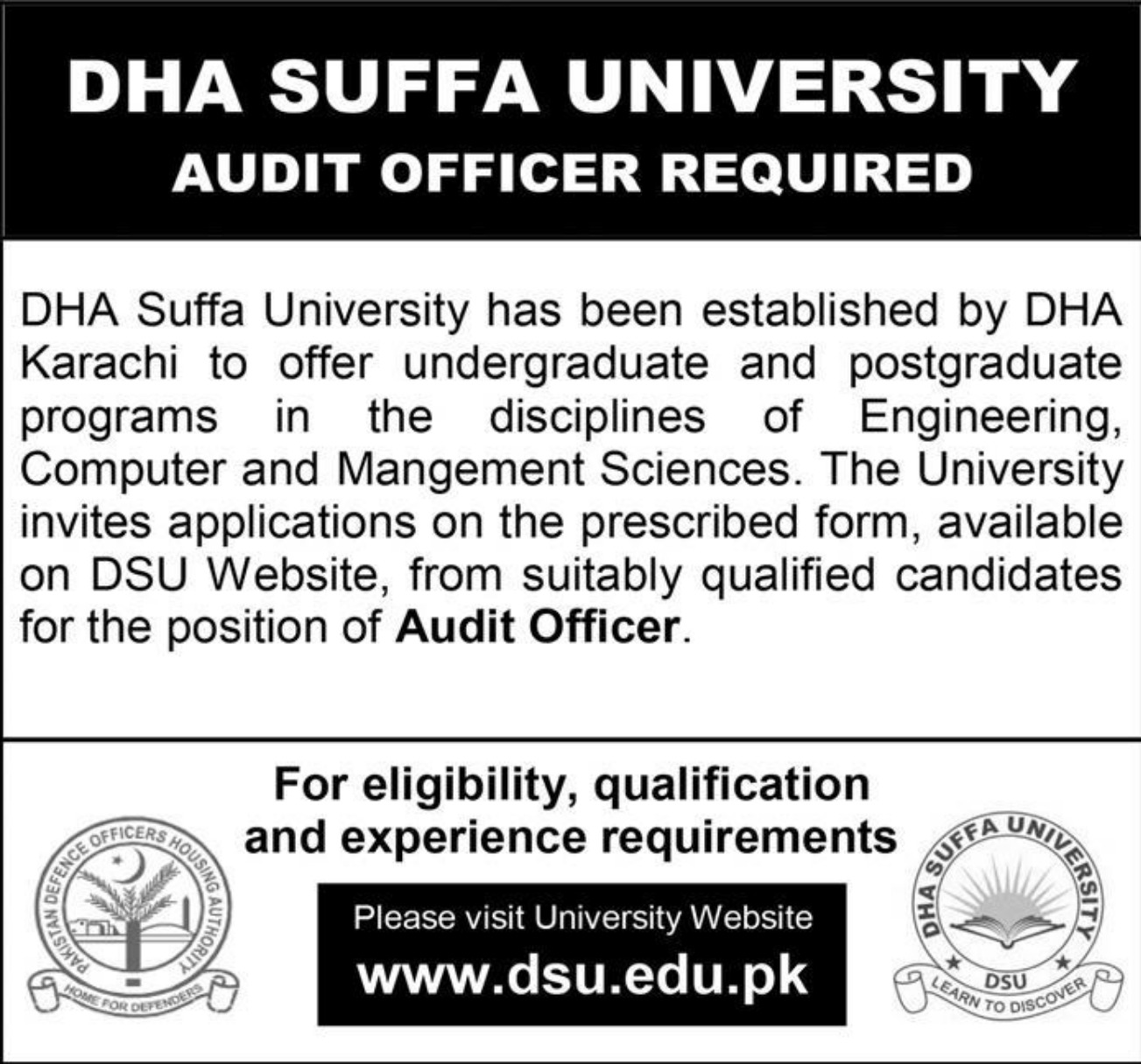 DHA Suffa University Jobs 2019 Audit Officer Latest