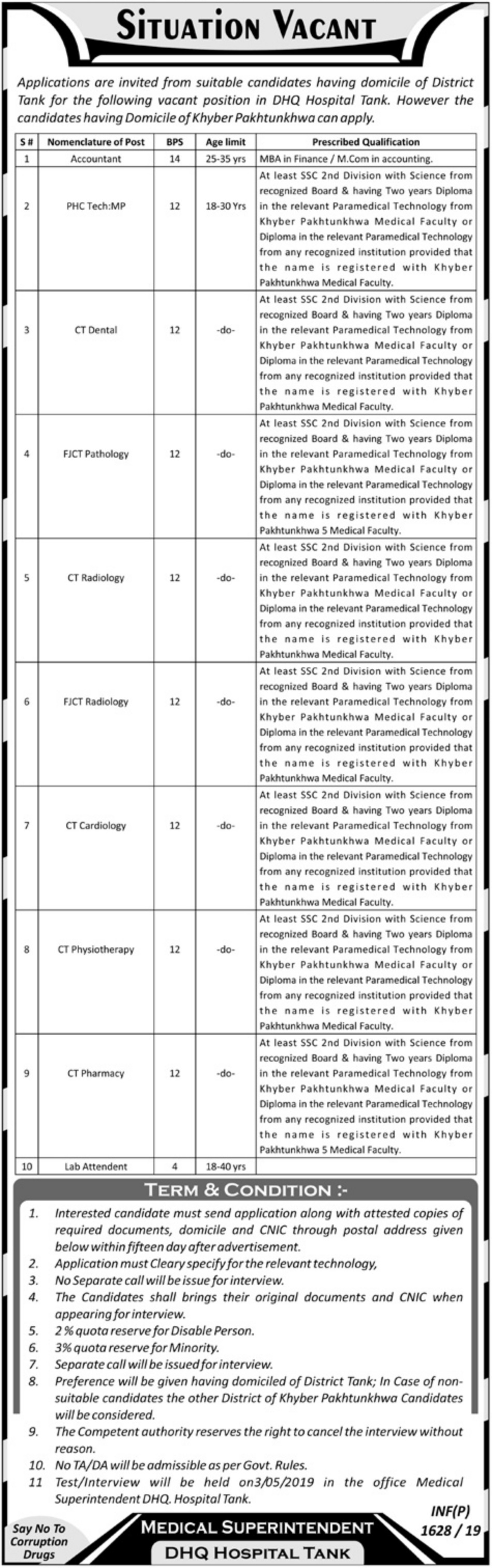 DHQ Hospital Tank Jobs 2019 KPK Latest