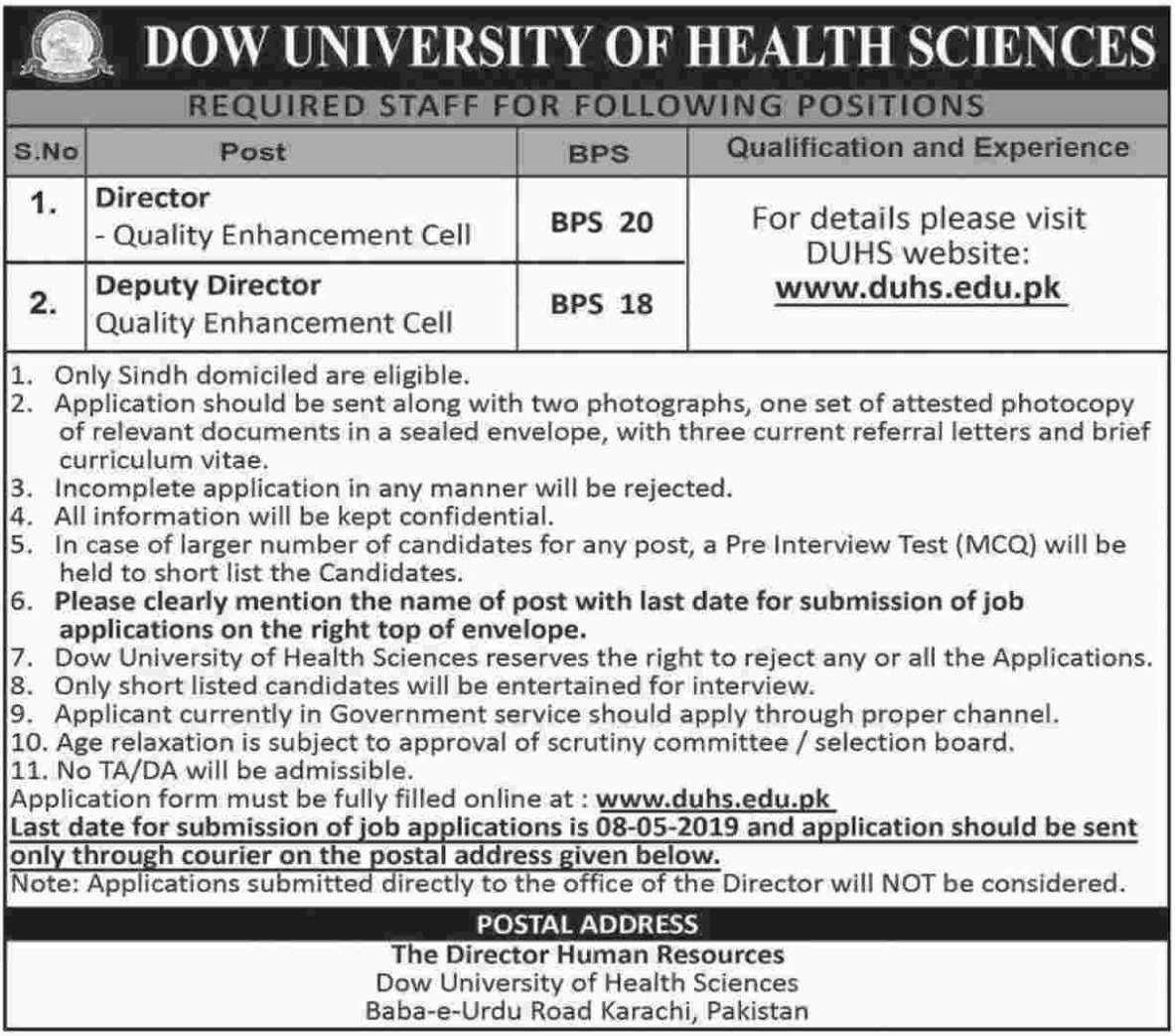 DOW University of Health Sciences DUHS Karachi Jobs 2019