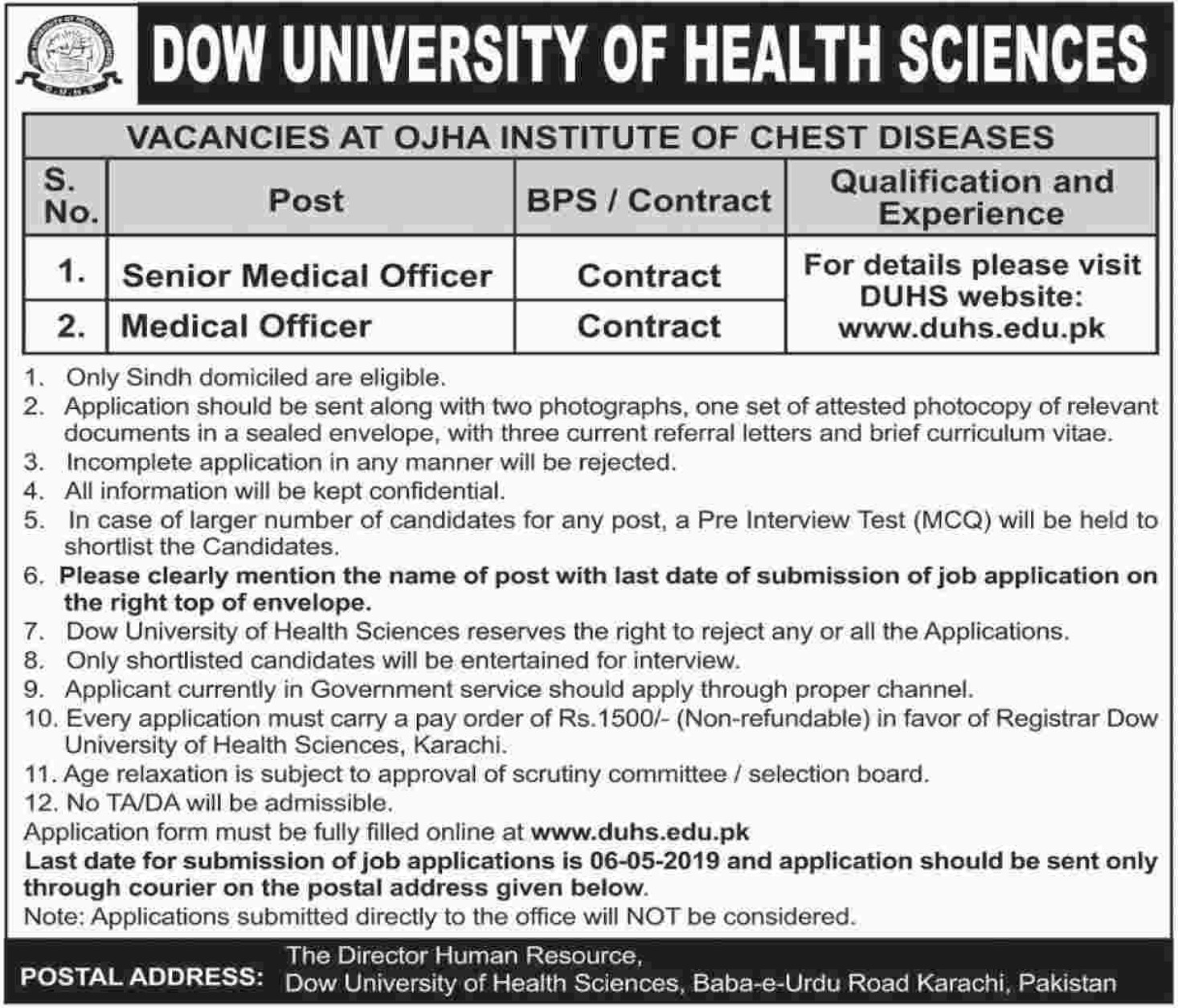 DOW University of Health Sciences DUHS Karachi Jobs 2019 Latest