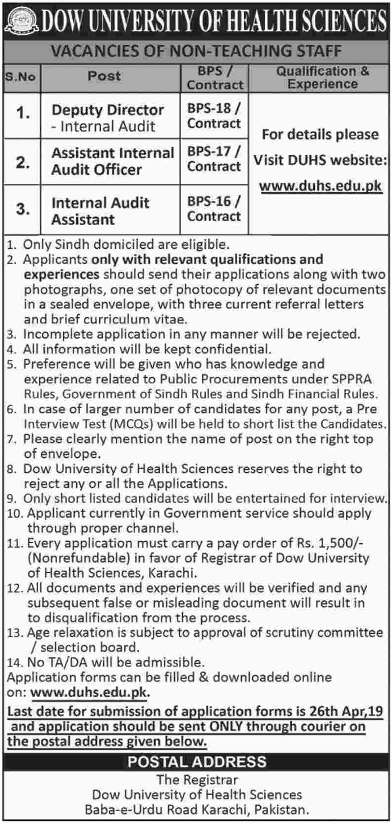 DOW University of Health Sciences DUHS Karachi Jobs 2019 Sindh Latest