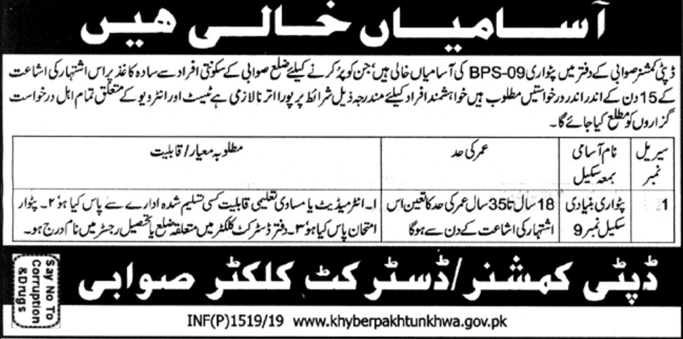 Deputy Commissioner Swabi Jobs 2019 KPK Latest