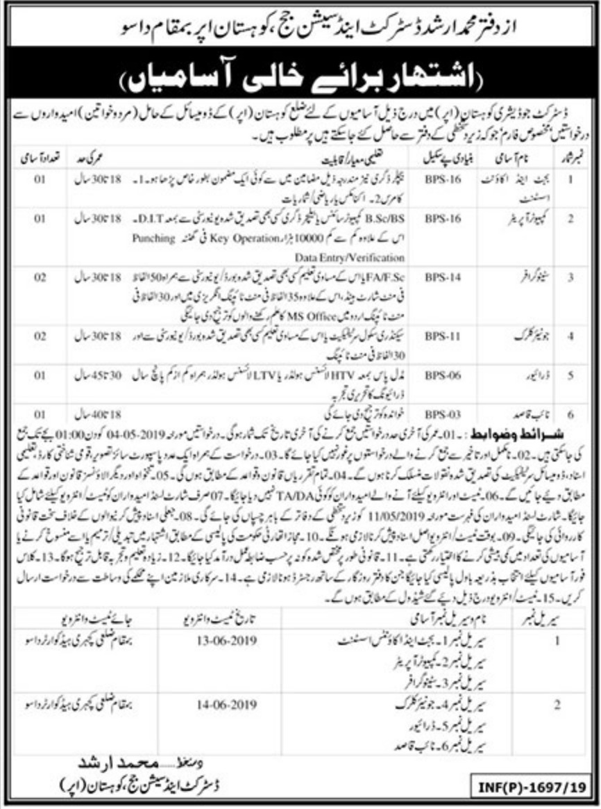 District & Session Court Kohistan Dasu Jobs 2019 KPK