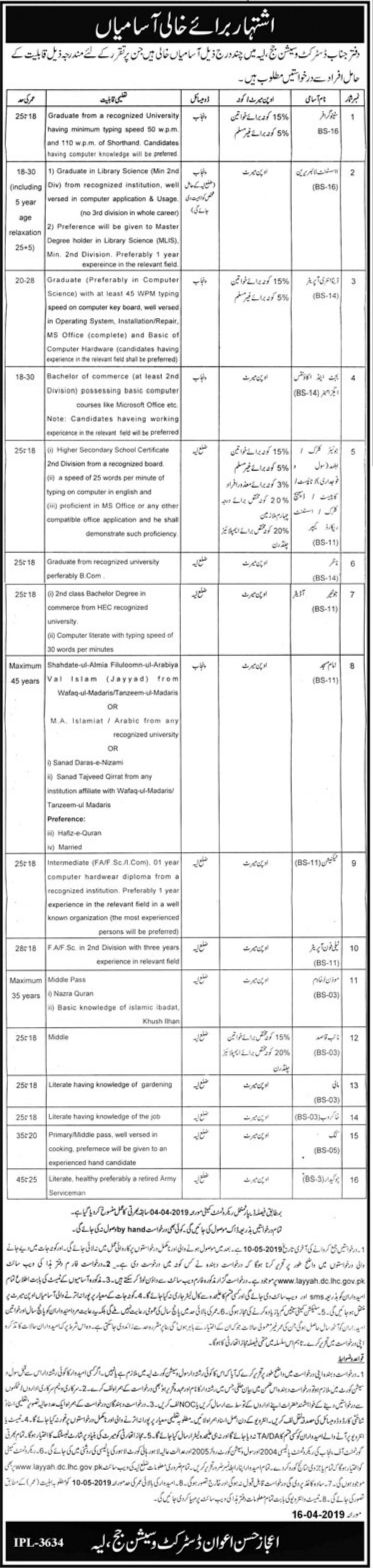 District & Session Court Layyah Jobs 2019