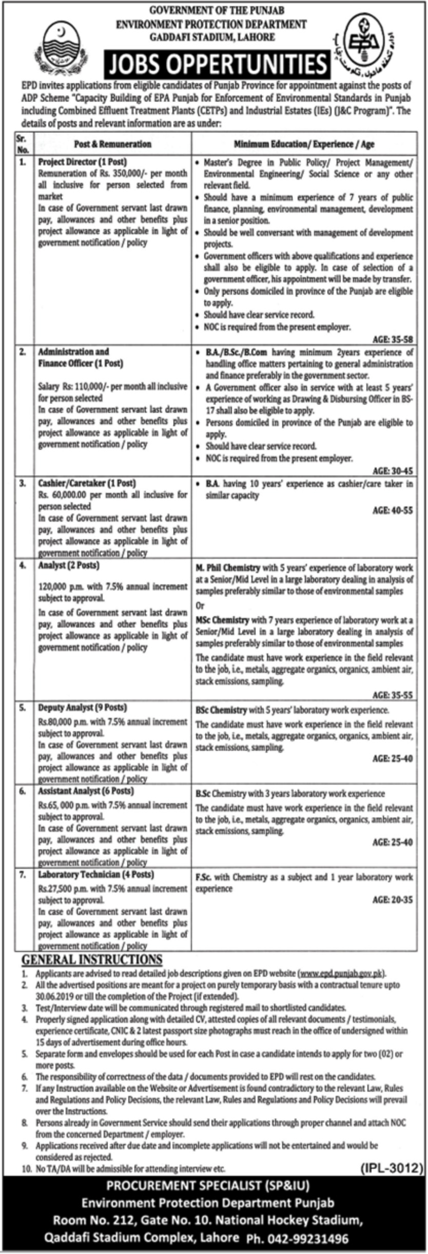 Environment Protection Department Lahore Jobs 2019 Government of Punjab Latest