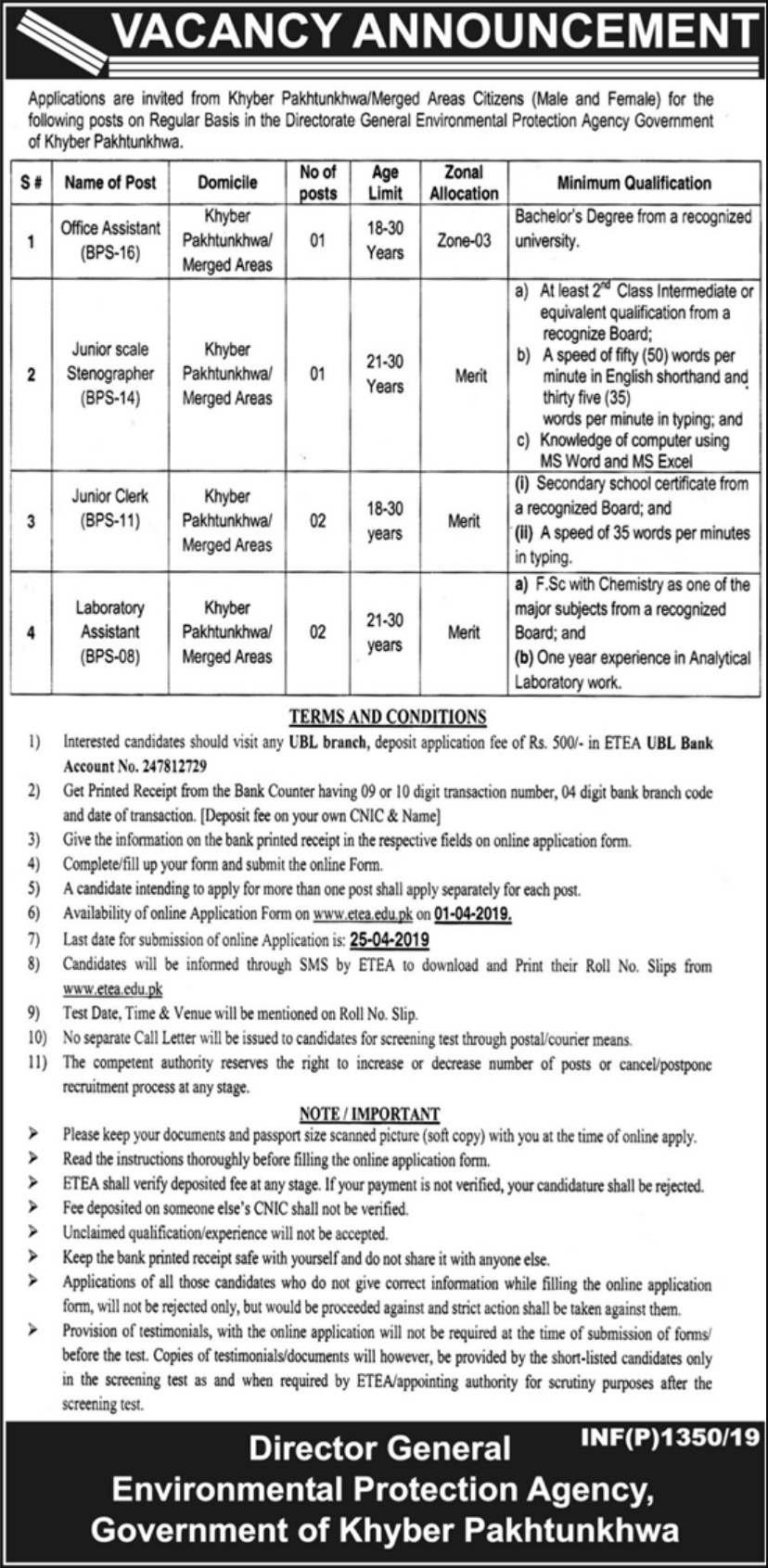 Environmental Protection Agency Jobs 2019 ETEA KPK Latest