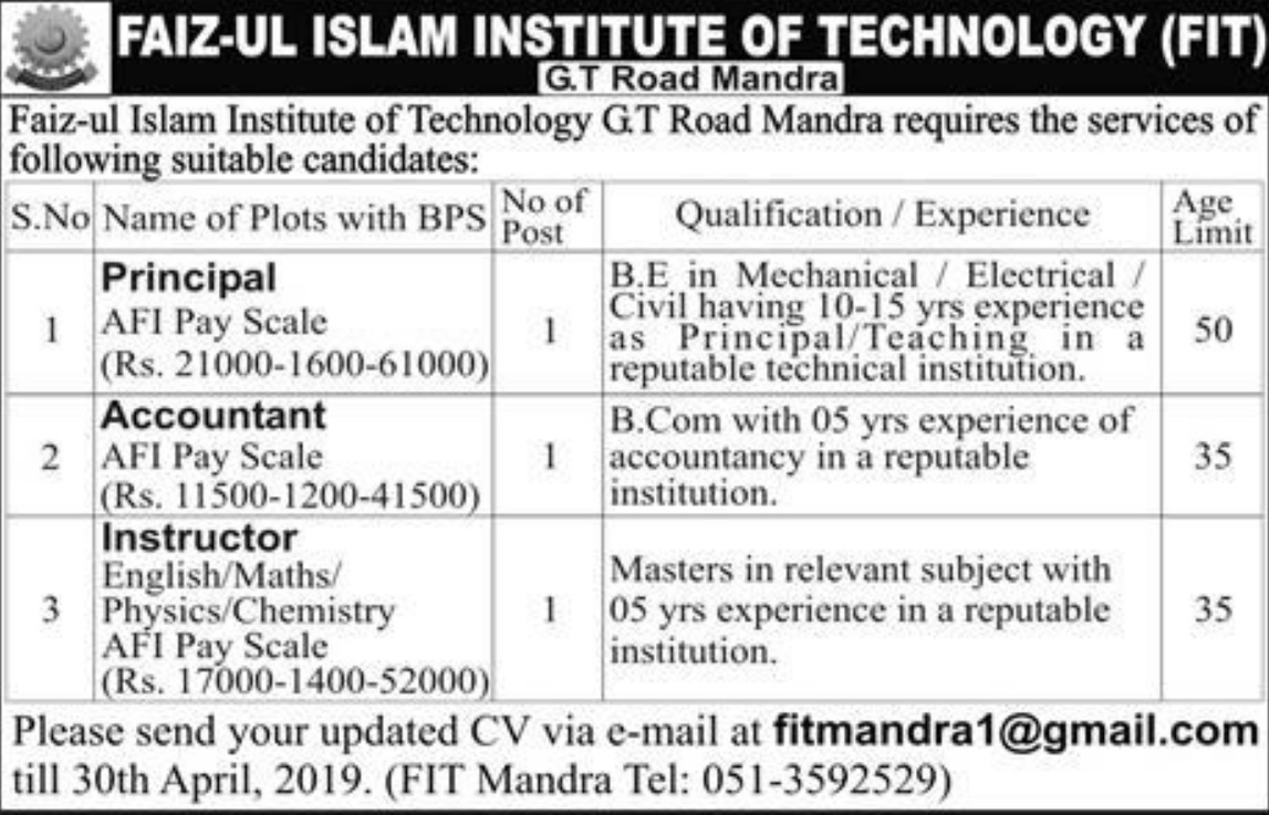 Faiz-ul Islam Institute of Technology FIT Mandra Jobs 2019 Latest