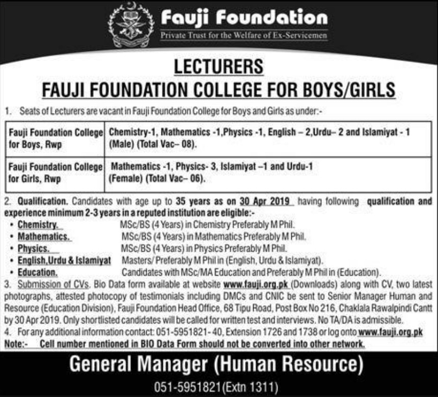 Fauji Foundation College for Boys & Girls Jobs 2019 Latest