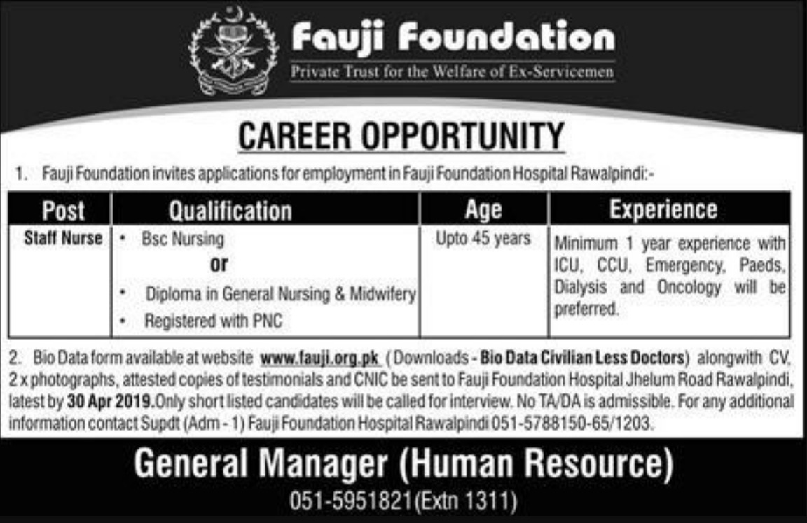 Fauji Foundation Hospital Rawalpindi Jobs 2019 Staff Nurse Latest