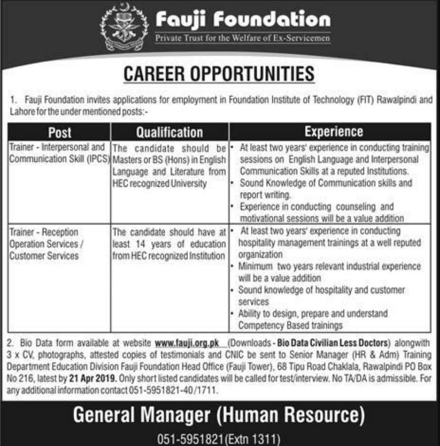 Fauji Foundation Jobs 2019 Foundation Institute of Technology Rawalpindi Latest