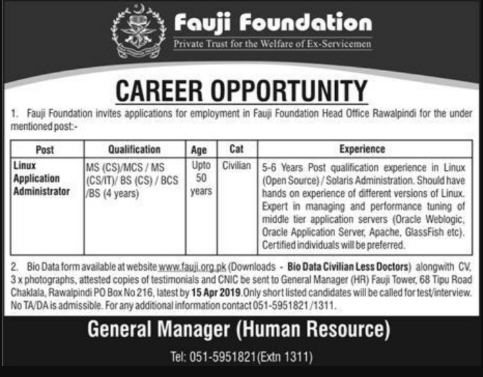 Fauji Foundation Jobs 2019 P.O.Box 216 Rawalpindi Latest