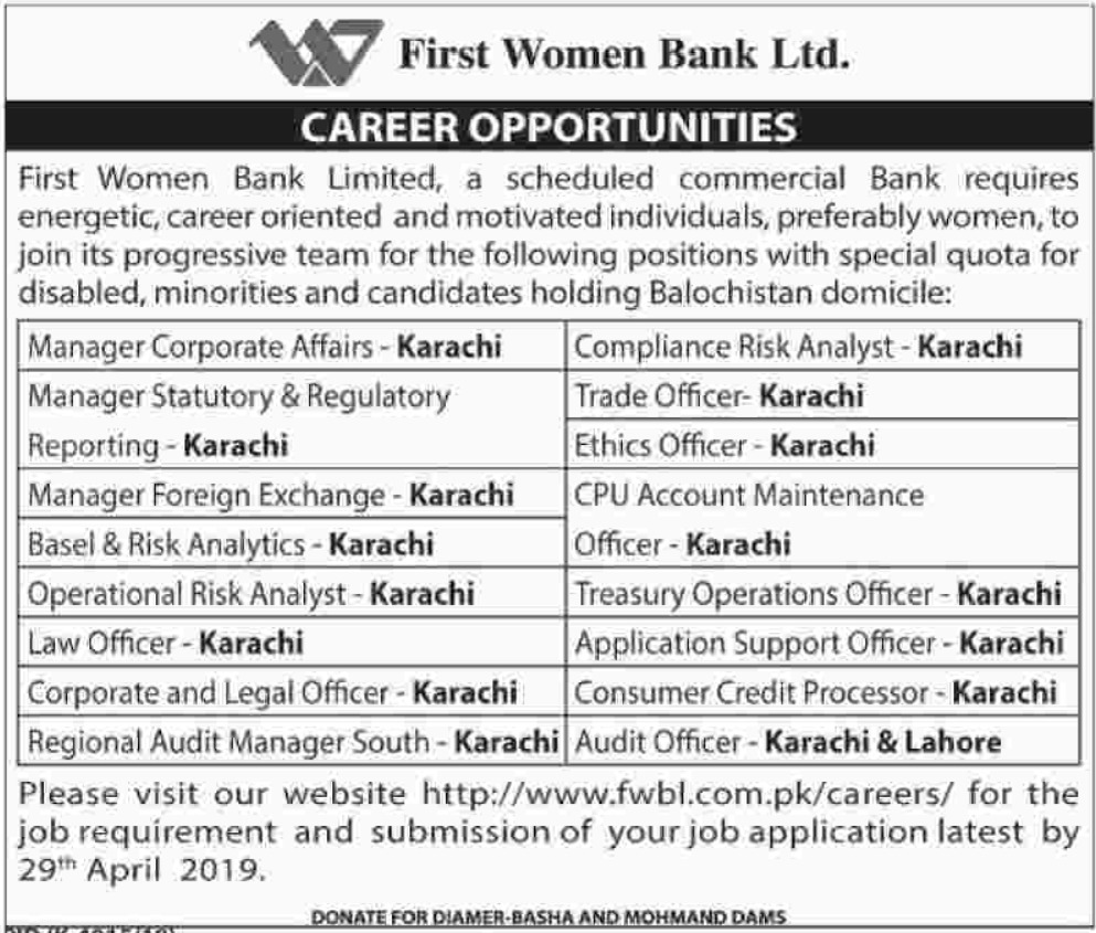 First Women Bank Ltd Jobs 2019 Latest