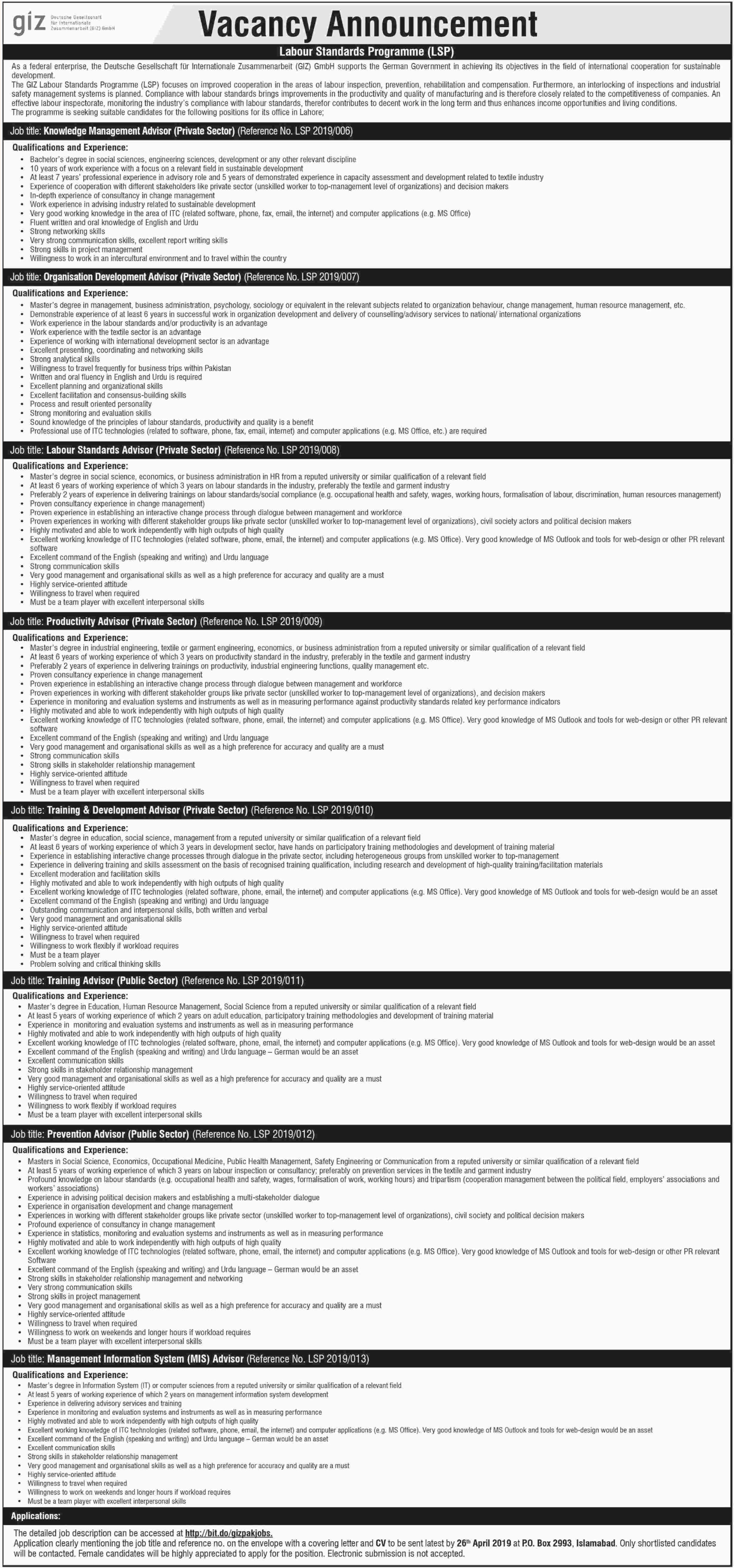 GIZ Pakistan Jobs 2019 P.O.Box 2993 Islamabad Latest