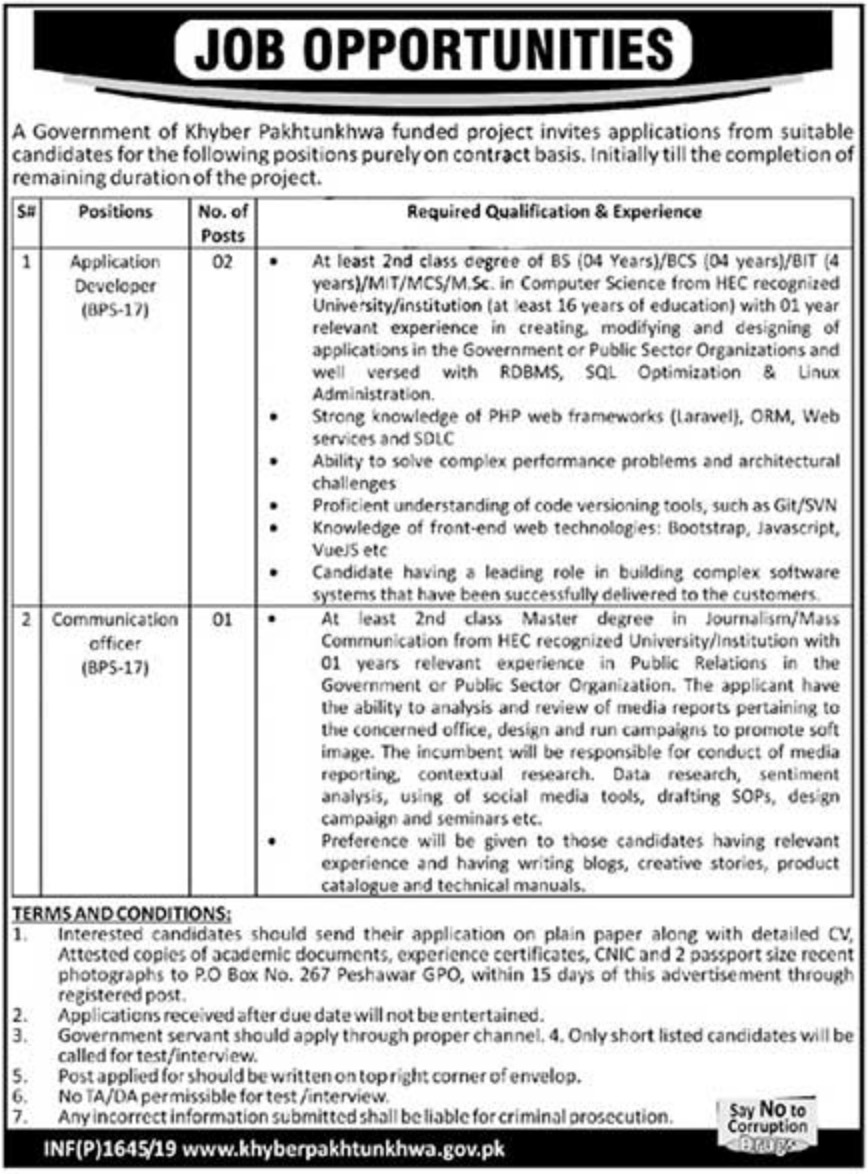 Government Funded Project Jobs 2019 P.O.Box 267 Peshawar Latest