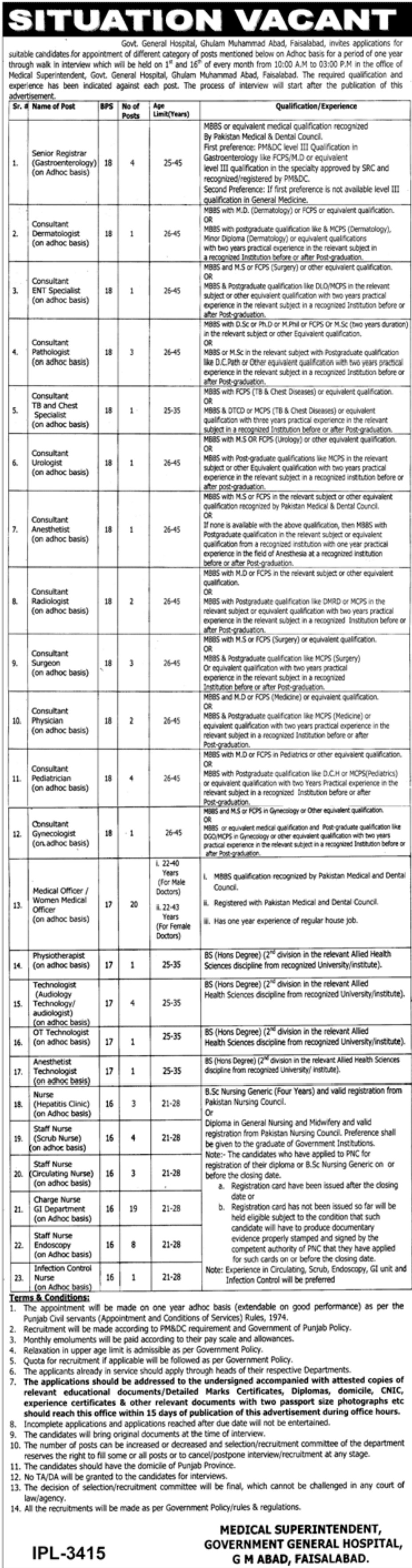Government General Hospital Faisalabad Jobs 2019 Latest