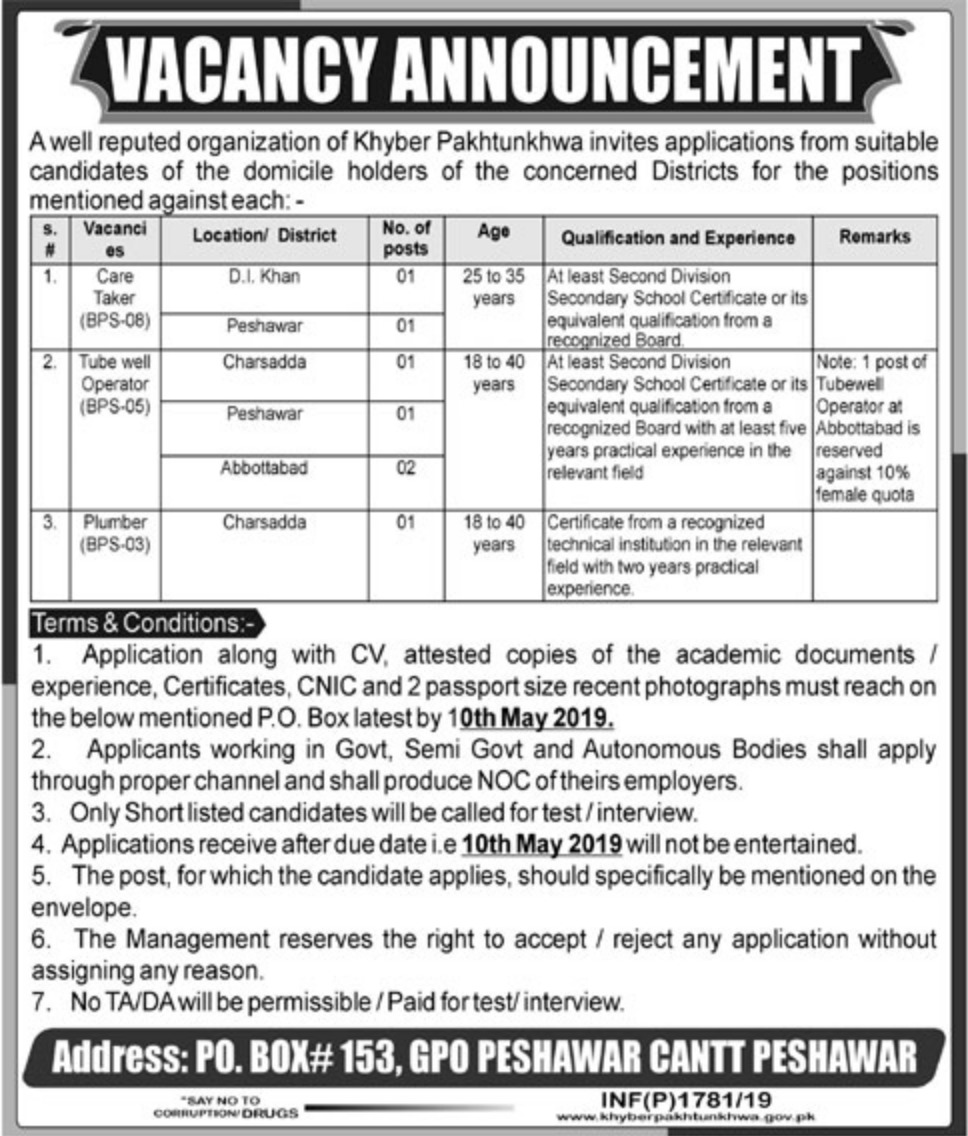 Government Organization Jobs 2019 P.O.Box 153 Peshawar