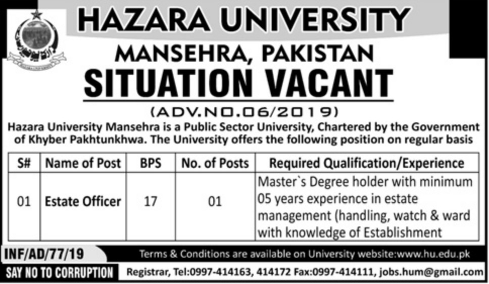 Hazara University Mansehra Jobs 2019 KPK