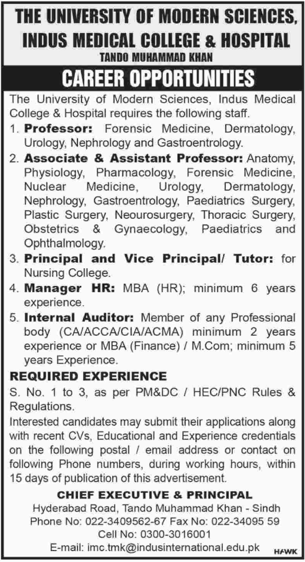 Indus Medical College & Hospital Tando Muhammad Khan Jobs 2019 University of Modern Sciences