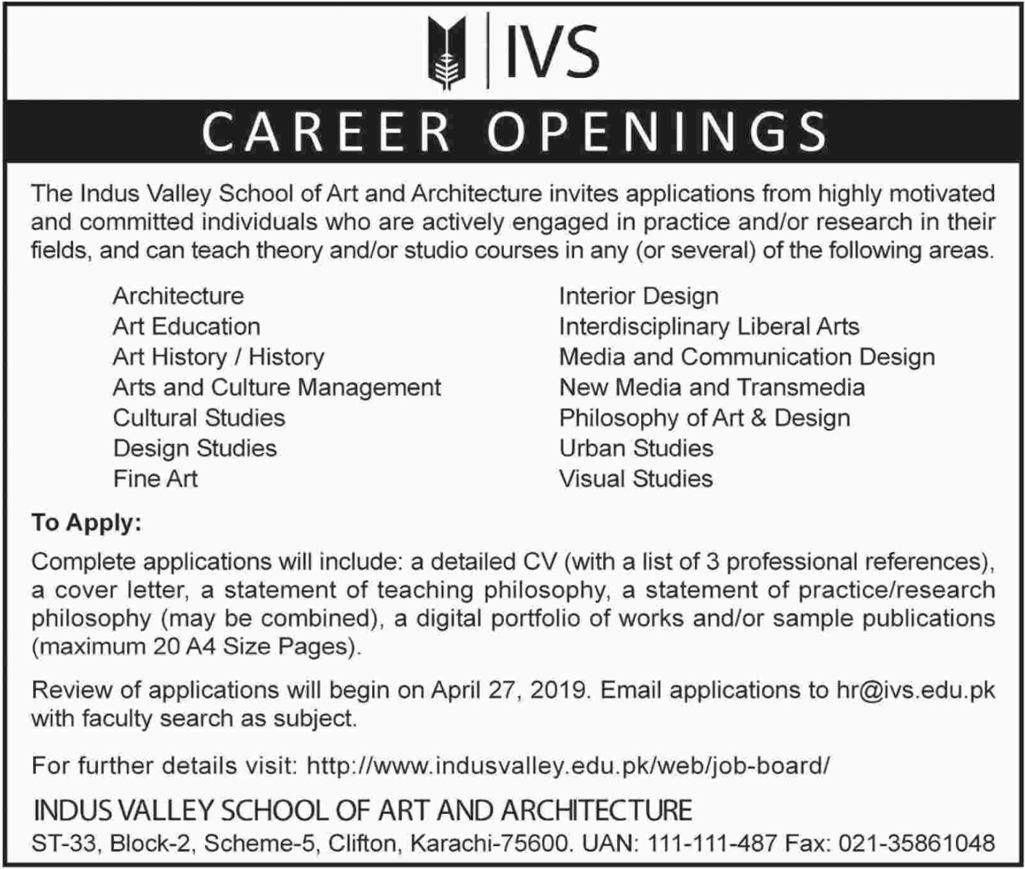Indus Valley School of Art and Architecture Jobs 2019 IVS Karachi Latest