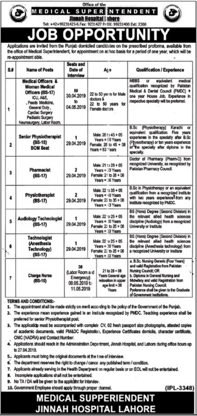 Jinnah Hospital Lahore Jobs 2019 Latest