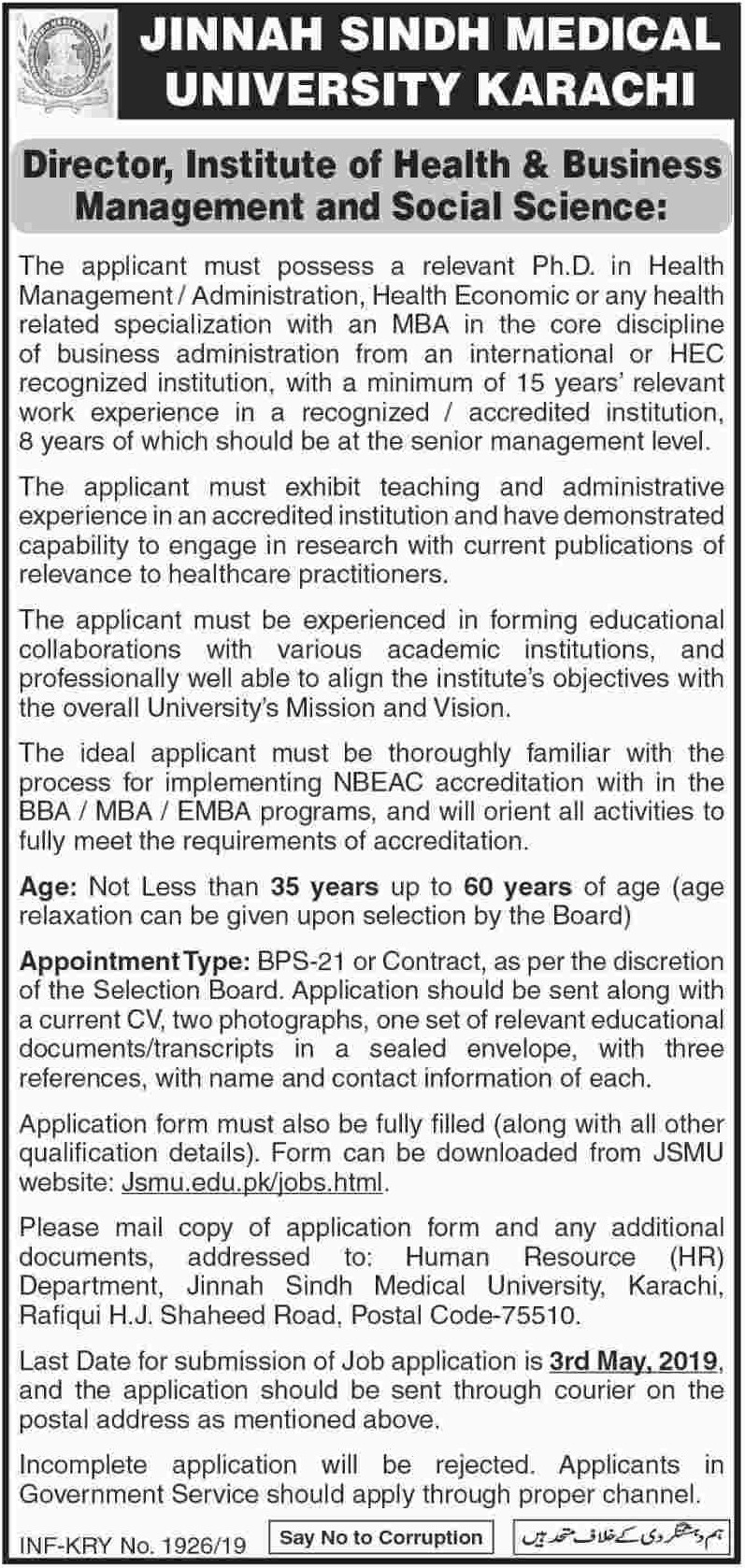 Jinnah Sindh Medical University JSMU Karachi Jobs 2019 Director Latest