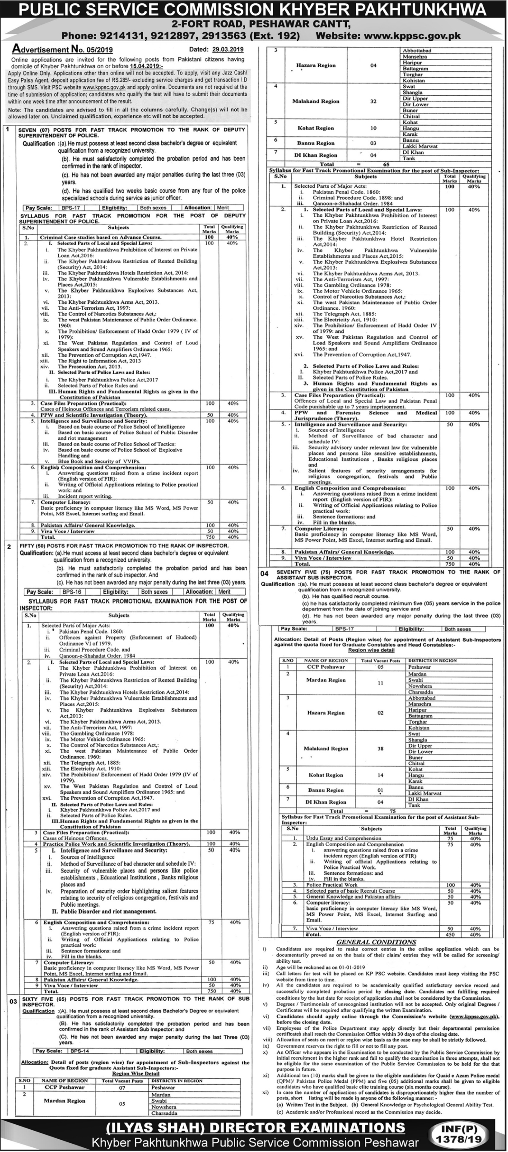 KPPSC Jobs 2019 Public Service Commission Khyber Pakhtunkhwa Latest