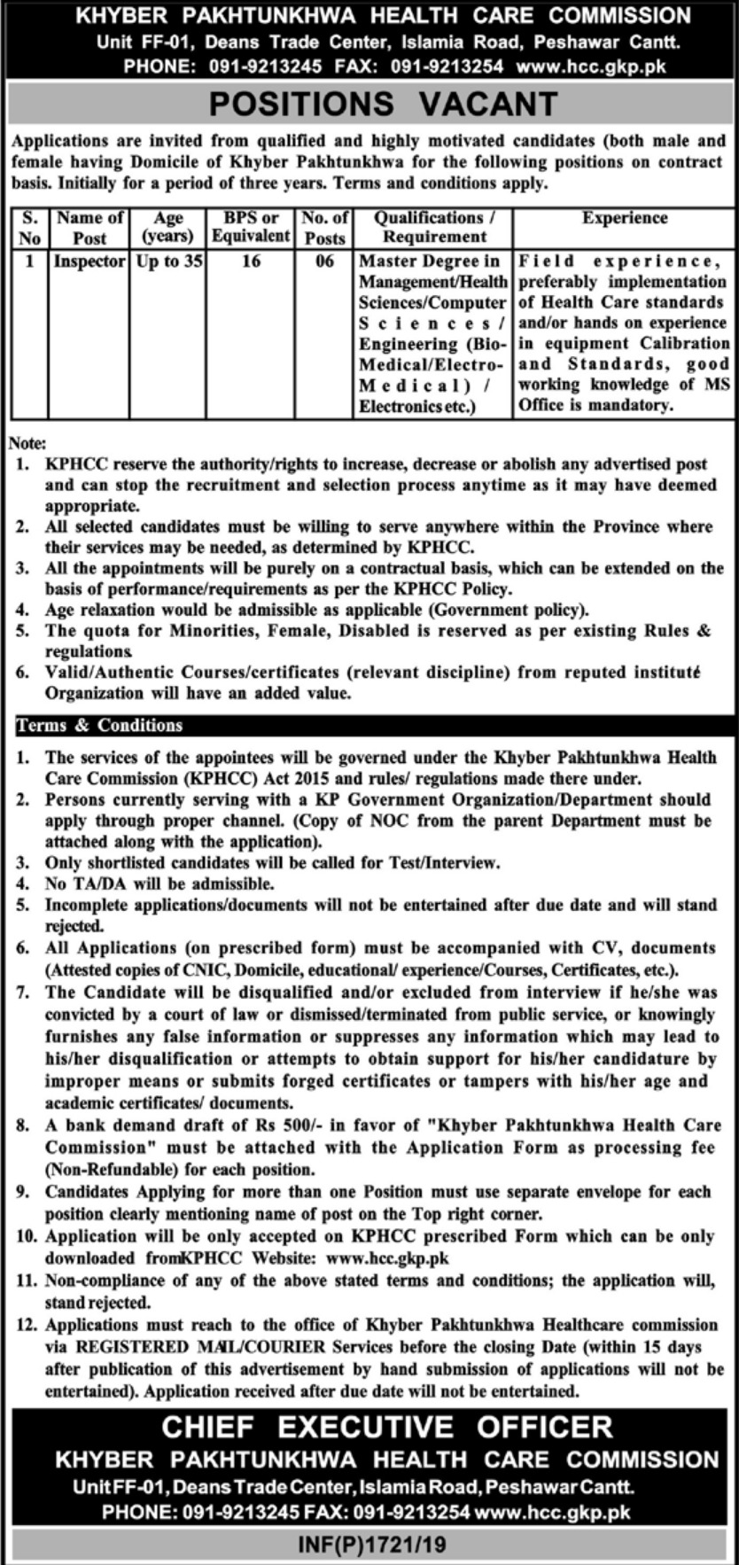 Khyber Pakhtunkhwa Health Care Commission KPHCC Jobs 2019 Inspector