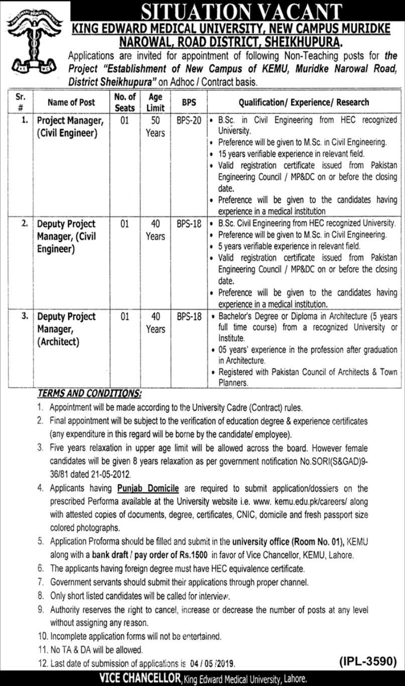 King Edward Medical University KEMU Sheikhupura Jobs 2019 Latest