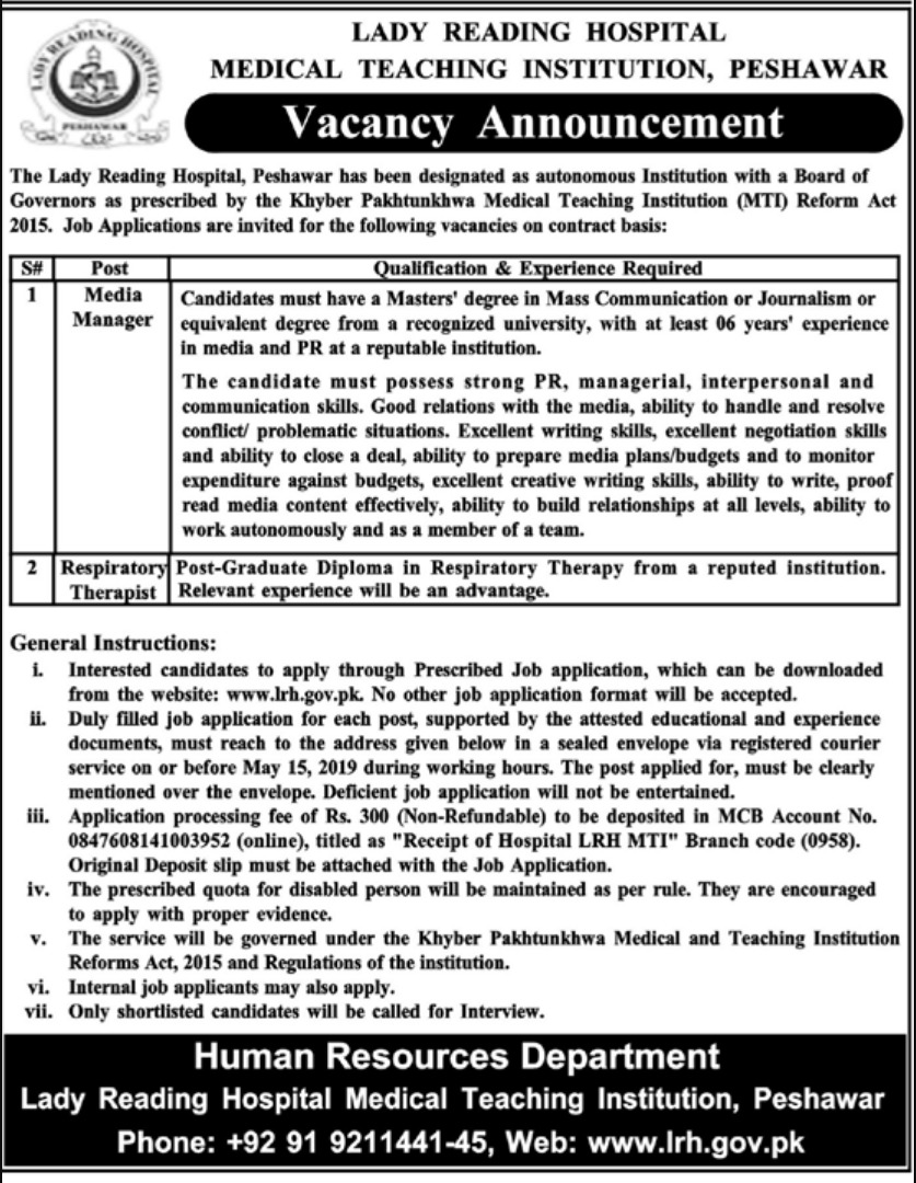 Lady Reading Hospital LRH Peshawar Jobs 2019 MTI KPK Latest