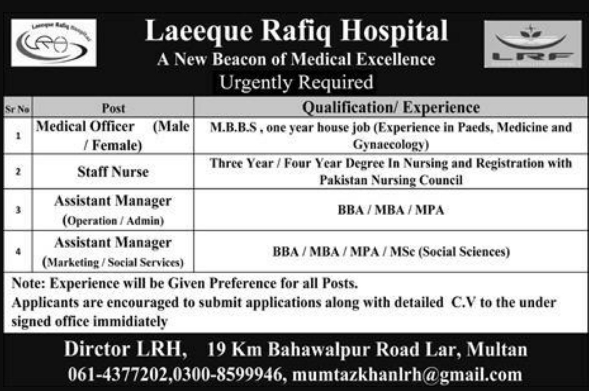 Laeeque Rafiq Hospital Multan Jobs 2019 Latest