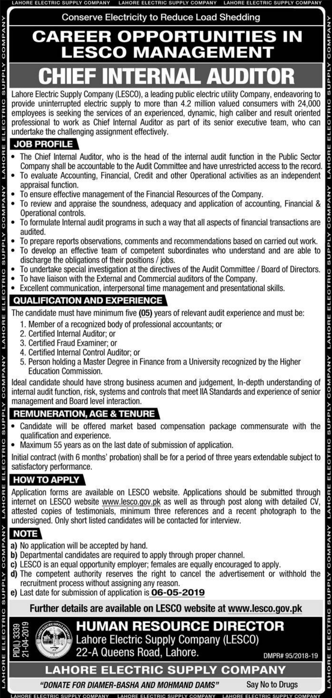 Lahore Electric Supply Company LESCO Jobs 2019 WAPDA Latest