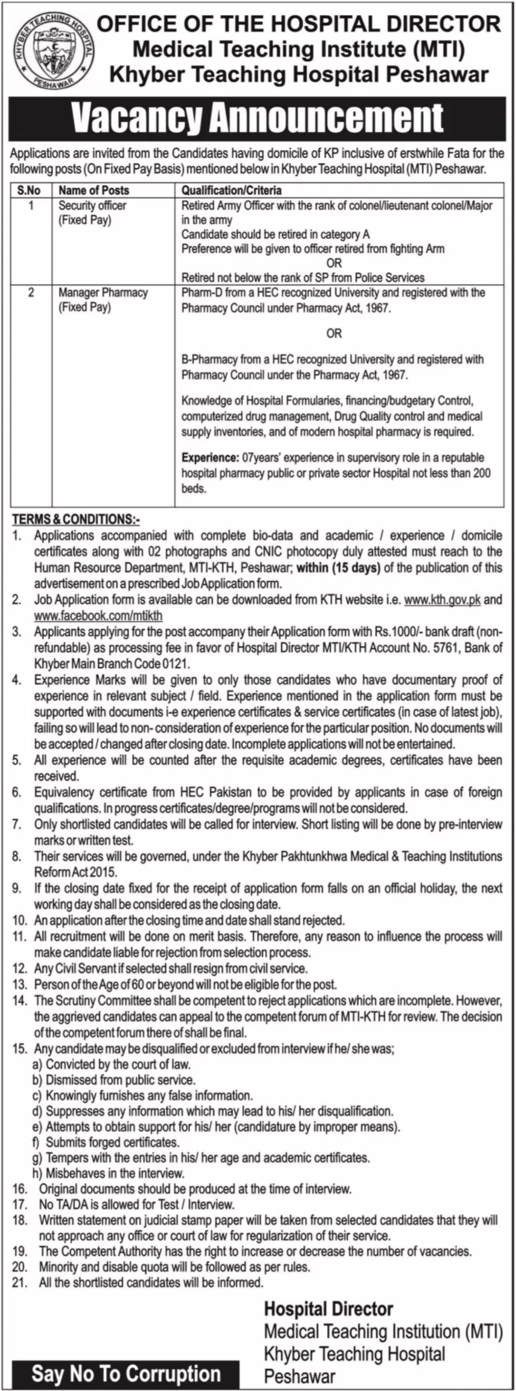 MTI Khyber Teaching Hospital Peshawar Jobs 2019 KTH KPK Latest
