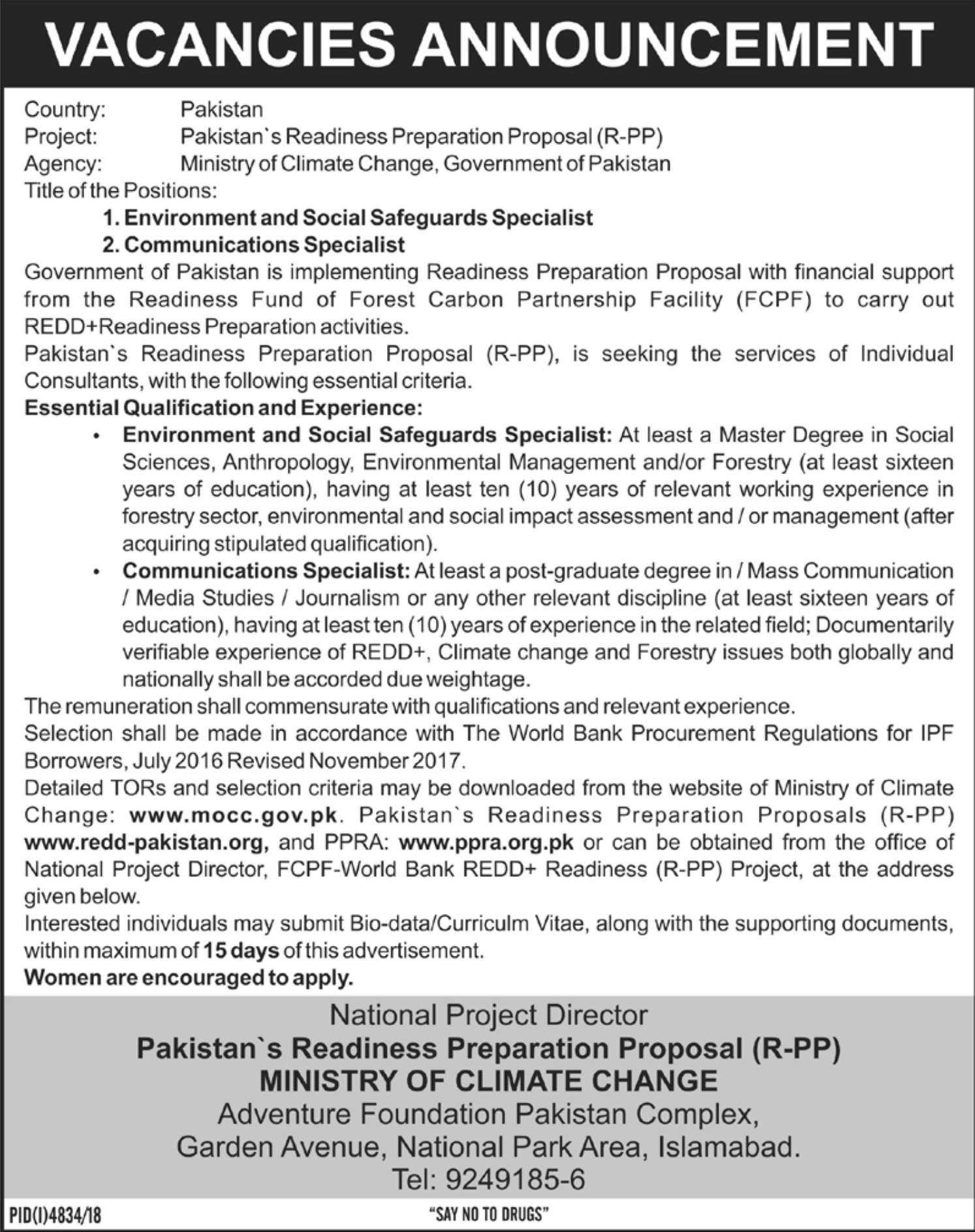 Ministry of Climate Change Jobs 2019 Government of Pakistan Latest
