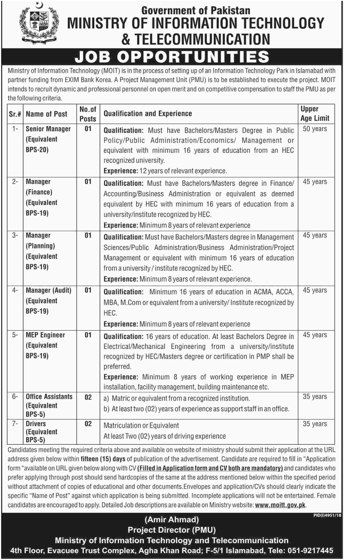 Ministry of Information Technology and Telecommunication Jobs 2019 MOIT Islamabad Latest